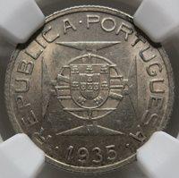 MOZAMBIQUE PORTUGAL 2.5 escudos 1935 NGC MS 63 UNC