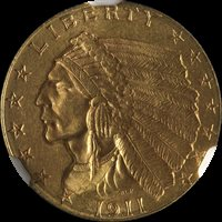 1911-P Indian Gold $2.50 NGC MS64 Great Eye Appeal Fantastic Luster Nice Strike
