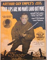 US WWI Sheet Music, Your Lips Are No Man's Land But Mine
