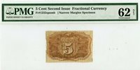 Fr 1232 spnmb 5 Cent Second Issue Fractional Currency PMG 62 Uncirculated NET