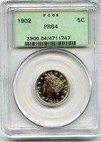 C11760- 1902 PROOF LIBERTY 'V' NICKEL PCGS PR64 OGH
