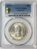 1925 50C Vancouver Commemorative Silver Half Dollar PCGS MS66 #