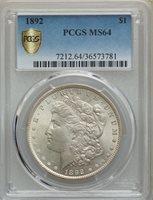1892 $1 MS64 PCGS