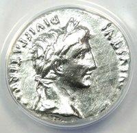 Augustus AR Denarius Silver Coin 2 BC - 4 AD - ANACS Certified - AU Details