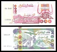Algeria. Banque d'Algérie. Date and type sextet of 1000 Dinars....
