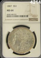 1887 MORGAN SILVER DOLLAR NGC CERTIFIED MS 64 #4214