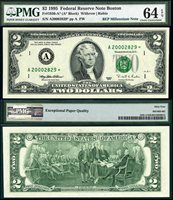 US Currency 1995 $2 Millennium Federal Reserve PMG Star Set