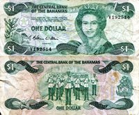 """Bahamas 1 Dollar Pick #: 43a 1974 (1984) F (see large scan)Other Caribbean Islands Green Queen Elizabeth II; Police Marching BandNote 6"""" x 2 3/4"""" North and Central America Ship"""