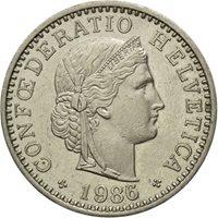 Coin, Switzerland, 20 Rappen, 1986, Bern, EF(40-45), Copper-nickel, KM:29a