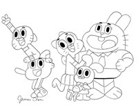 THE AMAZING WORLD OF GUMBALL ORIGINAL COMIC ART 1 ON CARD STOCK BY JAMES CHEN
