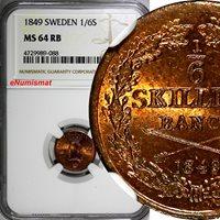 SWEDEN Oscar I Copper 1849 1/6 Skilling Mintage-536,544 NGC MS64 RB KM# 656