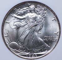 1943 WALKING LIBERTY HALF DOLLAR NGC MS 66 SMOOTH WHITE SUPERB GEM