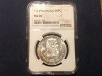 MS 66 NGC Silver Mexico Peso Coin Plata