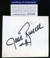 Jane Russell Psa Dna Coa Hand Signed 3x5 Index Card Autograph