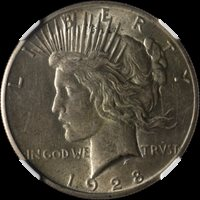 1928-P Peace Dollar CAC Sticker NGC AU55 Great Eye Appeal Nice Luster