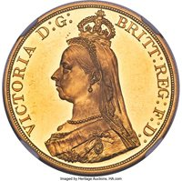 Great Britain: Victoria gold Proof 5 Pounds 1887 PR62+ Ultra Cameo NGC,...