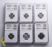 Ancient Silver Roman Empire 89 B.C to 282 A.D Lot of 6 Graded NGC Coins F-XF