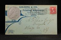 Massachusetts: Boston 1896 Golding Printing Embossed Silver Advertising Cover