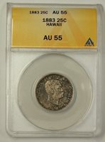 1883 Kingdom of Hawaii Silver Quarter 25c Coin ANACS AU-55