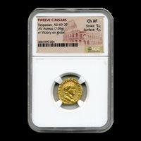 Roman Gold Aureus Emperor Vespasian (69-79 AD) Ch XF NGC - SKU#197024