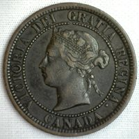 1882 Copper Canadian Large Cent One Cent Coin VF #8