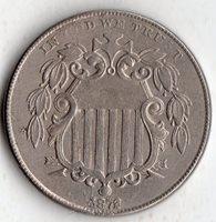 1872 SHIELD NICKLE 5¢ XF