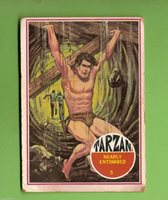 #D158. 1966 TARZAN CARD #5 ISSUED BY SCANLENS, NEARLY ENTOMBED