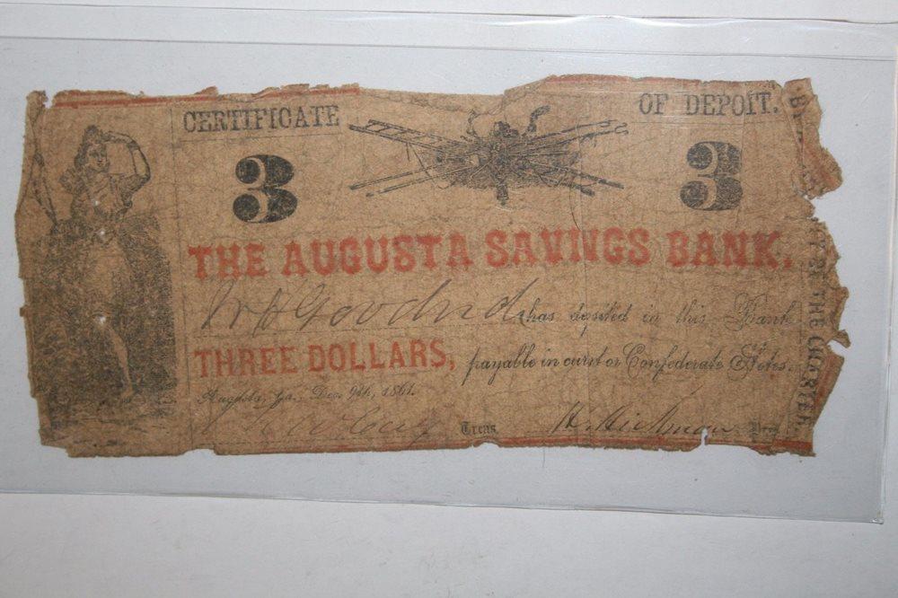 three dollars 1861 the augusta savings bank broken bank