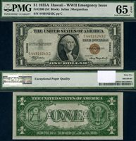 FR. 2300 $1 1935-A Hawaii Note S-C Block Gem PMG CU65 EPQ