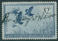 RW22 1955 $2 Blue Geese Duck Stamp VF Used Cat $10.00 s85