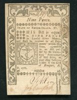 RI-291 MAY 1786 9d NINE PENCE RHODE ISLAND COLONIAL CURRENCY NOTE UNCIRCULATED