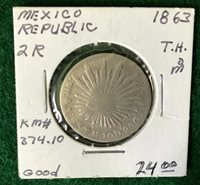 1863 TH Silver 2 Reale Mexican Coin- KM374.1 - T