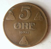 1913 NORWAY 5 ORE - Excellent Coin - FREE SHIP - BARGAIN BIN #62