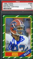 ANDRE REED ROOKIE PSA/DNA SIGNED 1986 TOPPS AUTHENTICATED AUTOGRAPH