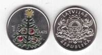 LATVIA – COLORED 1 LATS UNC COIN 2009 YEAR CHRISTMAS TREE