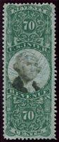 Scott R143 1871-72 70c green black cut cancel, F-VF