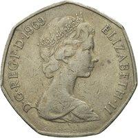 Coin, Great Britain, Elizabeth II, 50 New Pence, 1969, VF(20-25), Copper-nickel