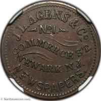 1861-65 (ND) J.L. Agens & Co. F-555A-8a Civil War Token NGC MS63BN Civil War Token