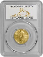2016-W Gold Standing Liberty Quarter (PCGS-SP70 First Strike) Centennial Label