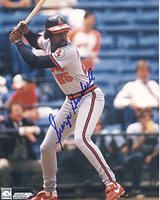 GEORGE HENDRICK CALIFORNIA ANGELS ACTION SIGNED 8x10