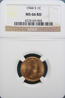 1944-S NGC MS66 RED Lincoln Wheat Cent!! #A4343
