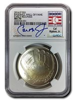 2014 P $1 Silver NGC MS-70 - Authentic Hand-Signed Cal Ripken, Jr. Baseball Hall of Fame Coin - Early Releases