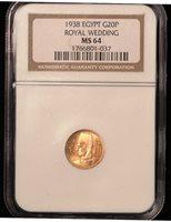 Gold 20 piastres 1938 Royal Wedding Egypt NGC MS-64