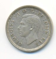 Great Britain UK King George VI Silver 3 Pence 1937 AU/UNC