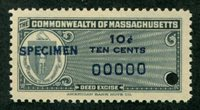 SRS MA D13S 1953 10c very dark blue blue SPECIMEN ovpt., security punch, VF