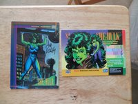 1993 MARVEL UNIVERSE IV CARD SHE-HULK SIGNED BY LEE WEEKS, WITH POA