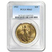 1923 $20 St. Gaudens Gold Double Eagle MS-63 PCGS G$20 MS-63 PCGS