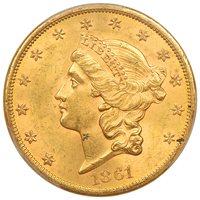 1861-S $20 PCGS/CAC MS62+