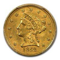 1852 $2.50 Liberty Gold Quarter Eagle MS-62 PCGS
