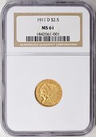 1911-D Indian Gold Quarter Eagle NGC MS-61 $(document).ready(function() {$('div.expandable').expander({slicePoint:200,expandPrefix:'... ',expandText:'[more]',collapseTimer:0,userCollapseText:'[less]'});$('#description')[0].style.display = '';});From the Kula Collection.